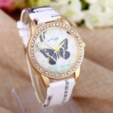 Ladies Casual Beautiful Butterfly Rhinestone Watch