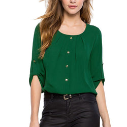 Round Neck Women Button Blouse