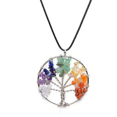Women Rainbow 7 Chakra Multicolor  Tree Of Life Necklace