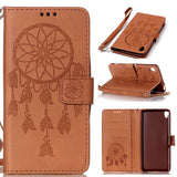Dreamcatcher Flip Leather Cover Embossed Wallet Card Holder Case For Sony XA Xperia X Performance Shell
