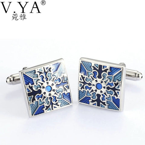 V.Ya High Quality Cuff-links for Men Glossy Square Paint Color Copper Metal Shirts Cuff Links