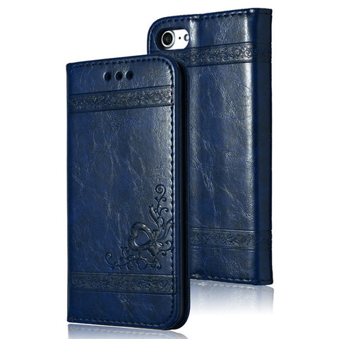 Leather Flip Phone Case For iPhone 7 Plus 6s Plus 5s 4s Samsung Galaxy S3 S4 S5 S6 S7 Edge S8 Plus Note 3 4 5