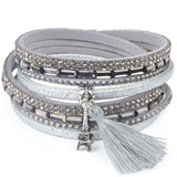 Women's Multilayer Leather Tassel Bracelet Bohemian Feather Anchor Charms