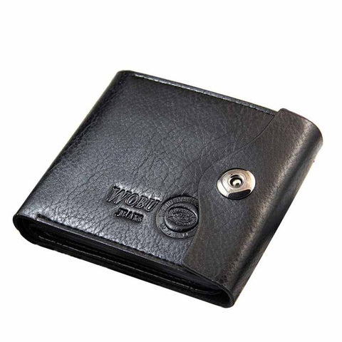 Mens Trifold Leather Wallet With Snap Button Closure