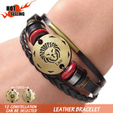 12 Zodiac Signs Cuff Leather Bracelet Men /Women Charms For   Couple Lovers