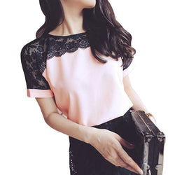 Women Casual Lace Chiffon Blouse