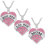 Big Letters Pink Mom Crystal Heart Necklace