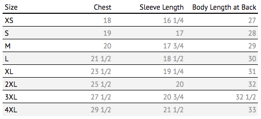 just keep livin mens size chart