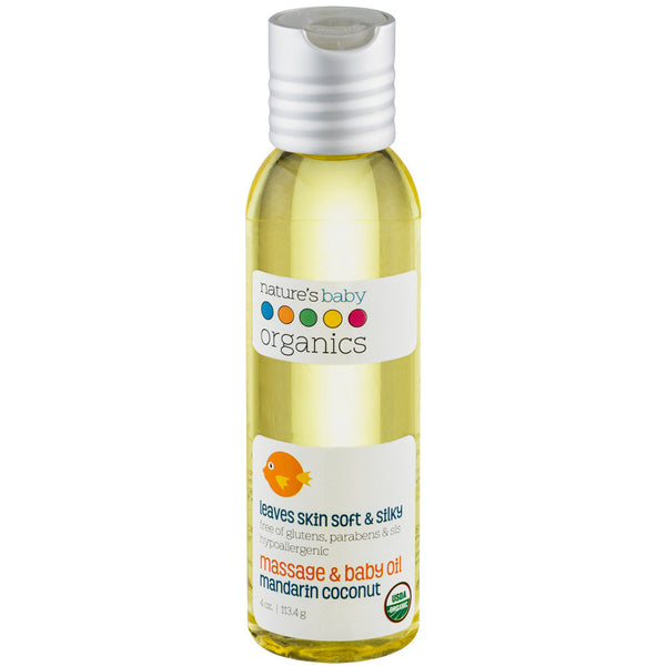 Organic Massage & Baby Oil Mandarin Coconut 4 oz