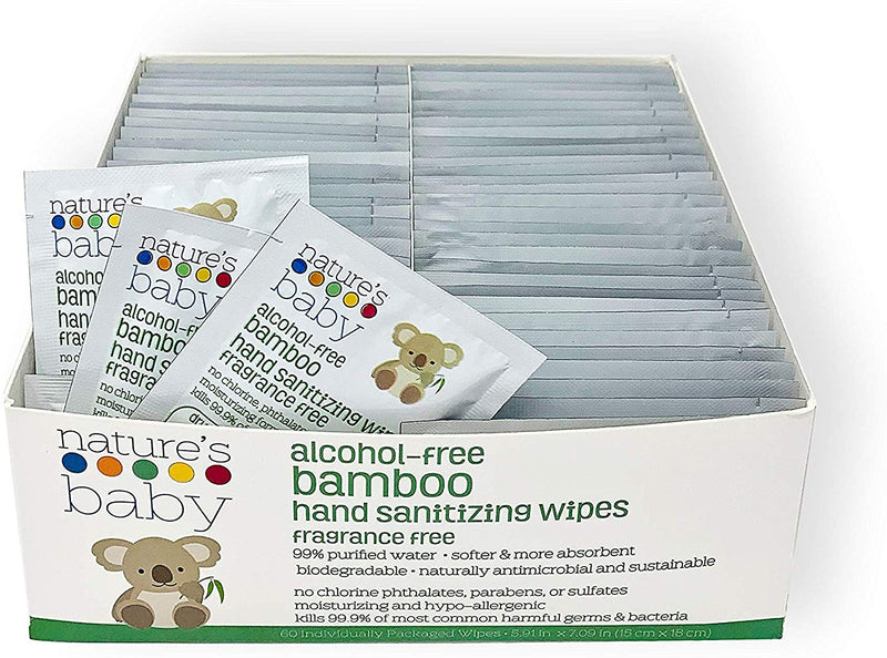 Bamboo Alcohol-Free Hand Sanitizing Wipes 60 Count Individually-Wrapped
