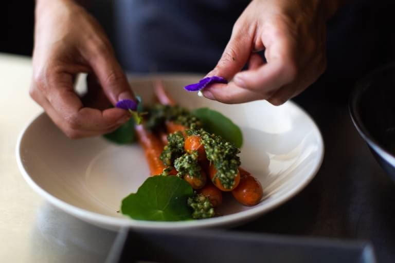 plating carrots on made in entrée bowl