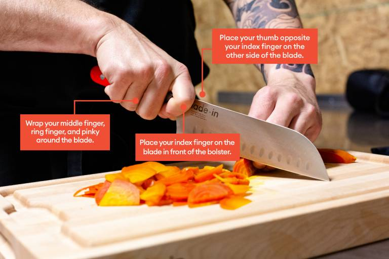 how to hold a chef knife