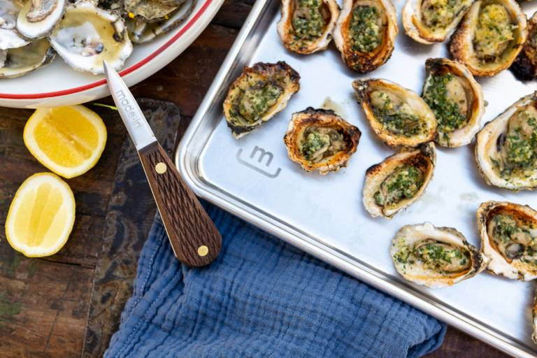 grilled oysters with compound butter