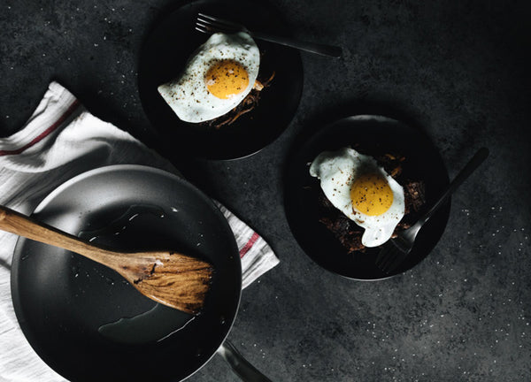 three nonstick pans from made In cookware