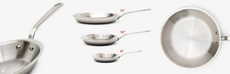 three different frying pan sizes compared