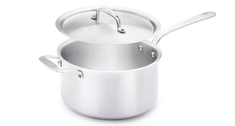 made in 4 qt saucepan on white background