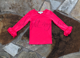 Razzleberry Long Sleeve Ruffle Shirt