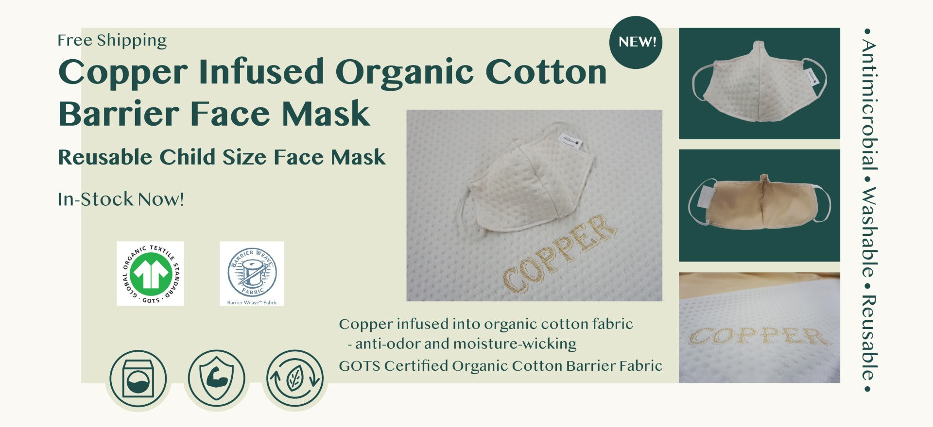 Children's Face Mask Copper Infused Organic Cotton Barrier Fabric