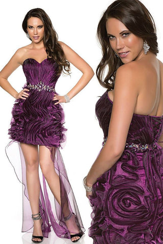 Sweetheart Pleated Mini Purple Dress