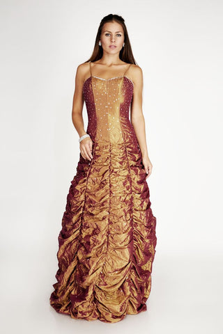 Sweetheart Ruched Prom Long Gold Evening Dress