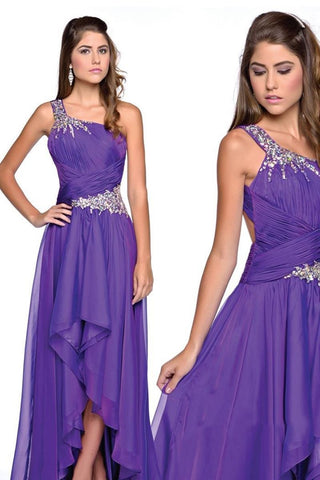 One Shoulder Waterfall Long Purple Evening Dress