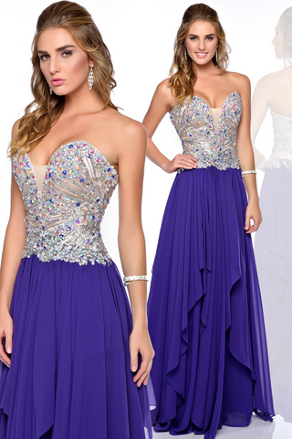Sweetheart Waterfall Prom Long Purple Evening Dress