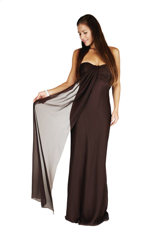 Long Strapless Evening Dress