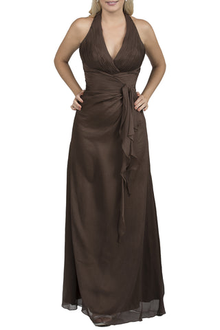 Ruched Silk Halter Neck Long Brown Evening Dress