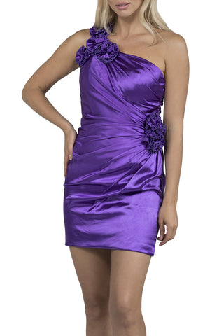 Silk One Shoulder Short Purple Evening Dress
