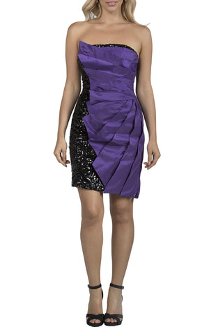 Sequin Pleated Short Purple Evening Dress