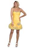 Bodycon Tutu Short Yellow Evening Dress