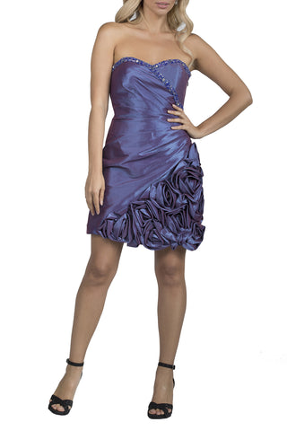 Sweetheart Flower Short Purple Evening Dress