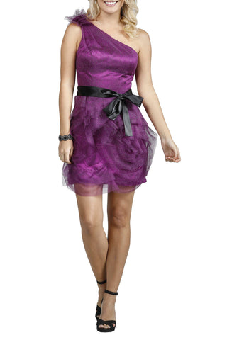 One Shoulder Glitter Short Purple Evening Dress