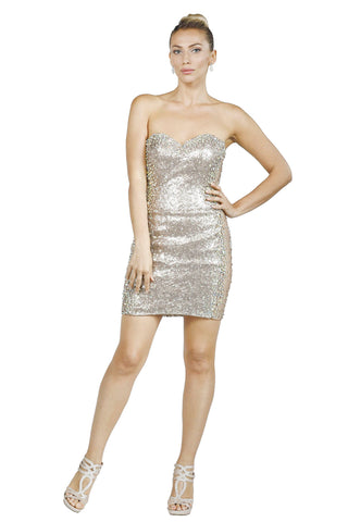 Le Kardian - Sequin Bodycon Mini Gold Evening Dress