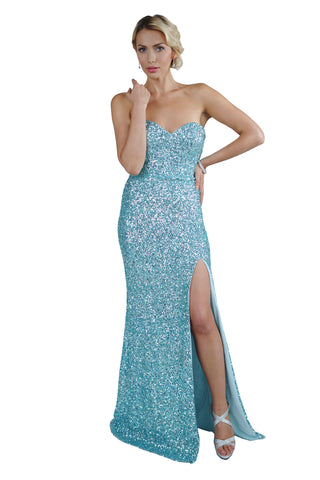 Le Alicia - Sleeveless Split Long Evening Sequin Dress