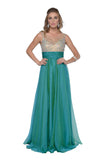 Le Joes - Illusion Neck Long A-Line Formal Dress