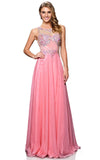 A-Line Long Coral Evening Dress