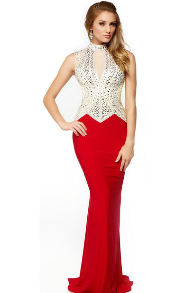 High Neck Bodycon Long Red Evening Dress