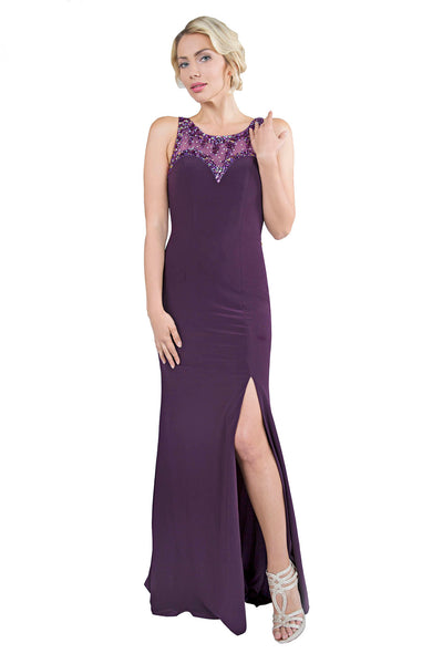 Le Isla - Thigh Split Long Purple Evening Dress