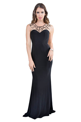 Le Gemma - Classic Long Black Evening Dress