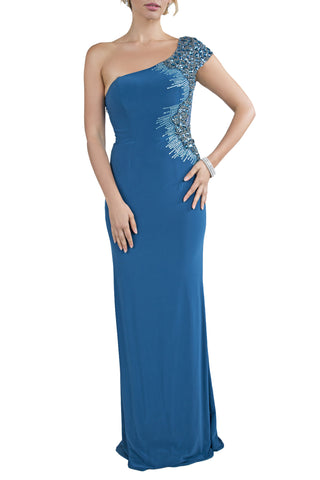 Classic One Shoulder Mermaid Long Teal Evening Dress