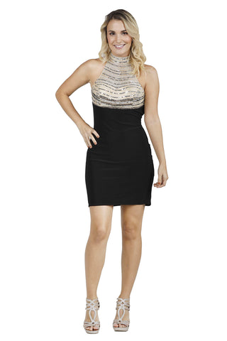 Le Perry - Beaded Halter Neck Mini Black Evening Dress
