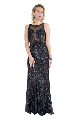 Le Biel - Classic Sequin Long Black Evening Dress