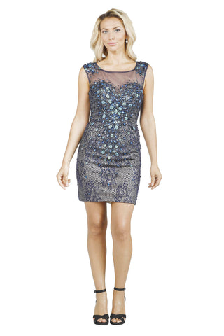 Le Rapace - Hand Beaded Sheer Bodycon Peacock Multicolor Short Evening Dress