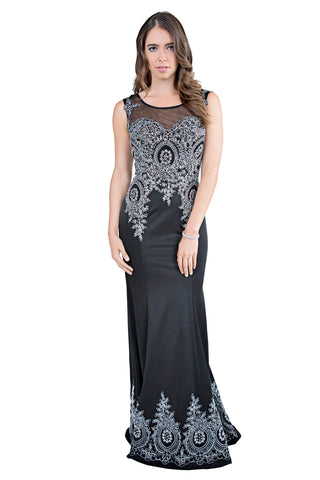 Le Lopez - Crystal A-Line Long Black Evening Dress