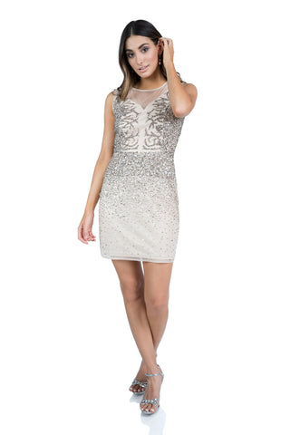 Le Michaela - Illusion Neck Short Beaded Evening Dress