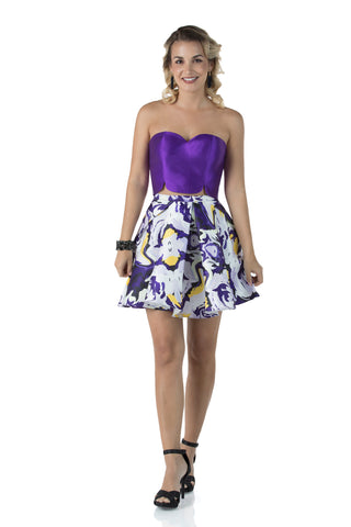 Strapless Sweetheart Short Two Piece Purple Dress With Zipper