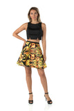 Short Two Piece Floral Yellow Evening Dress