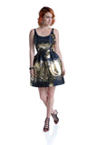 Scoop-Neck Sleeveless Short Black-Gold Evening Dress