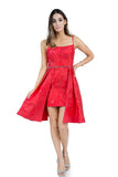 High-Low Short Red Evening Dress With Beaded Waist Line